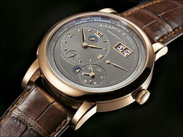 Pink gold a. lange & söhne lange 1 timezone grey dial replica watch