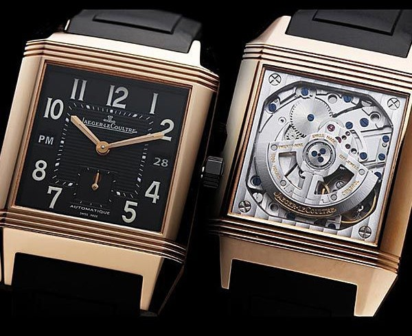 Black Jaeger-LeCoultre Reverso Squadra Hometime Replica Watch In Pink Gold