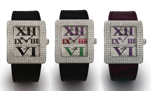 Black Leather Franck Muller Infinity Reka Diamonds Replica Watch