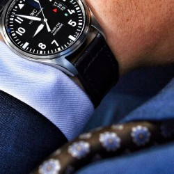 Black dial steel case iwc pilot mark xvii replica online sale